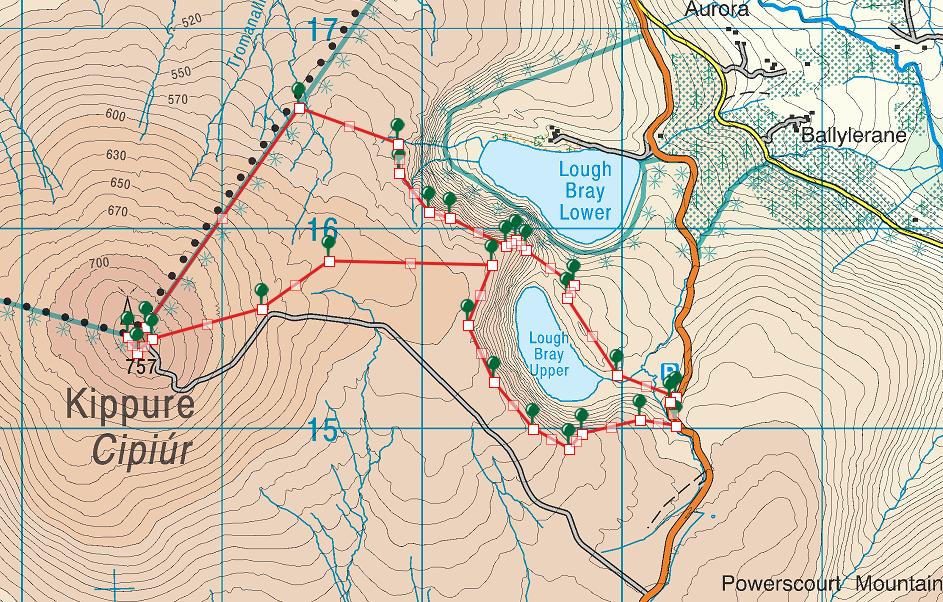 Lough Brays map Kippure Route 9km