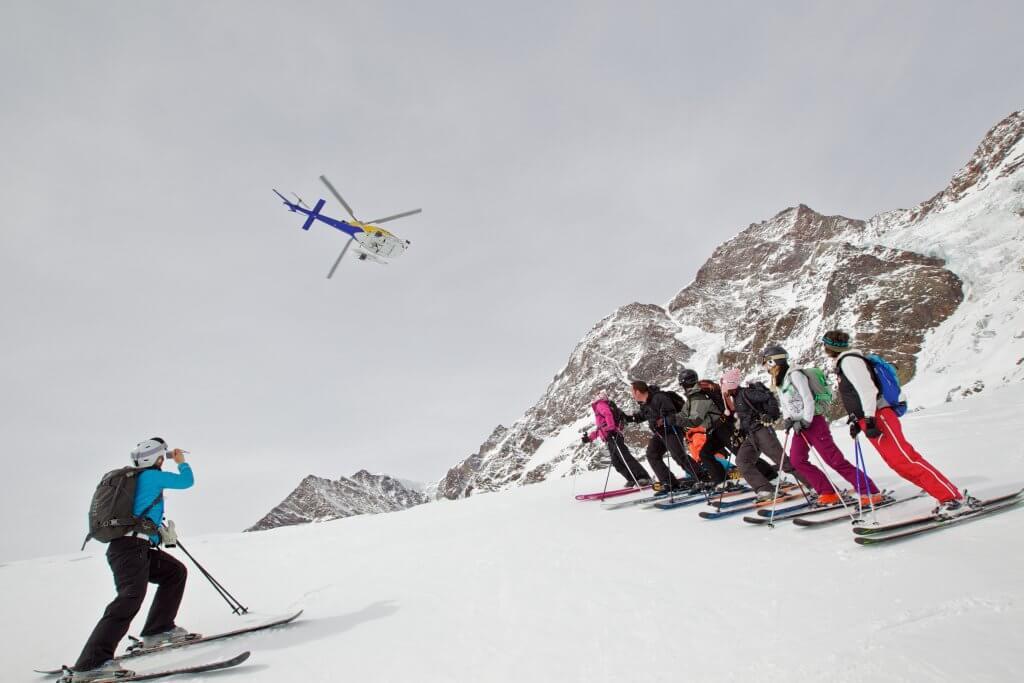 alternative skiing the heli