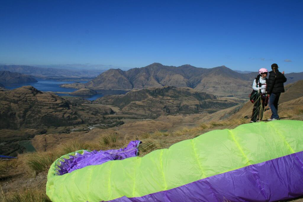 Paragliding at Treble Cone.