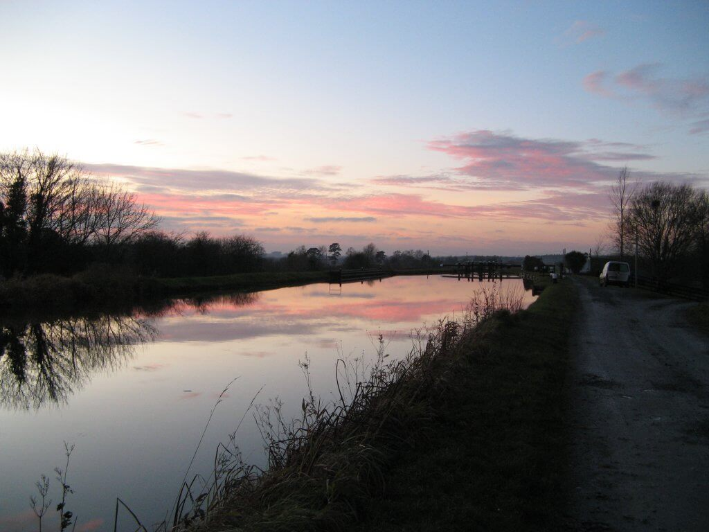 Sunset over the frozen Grand Canal