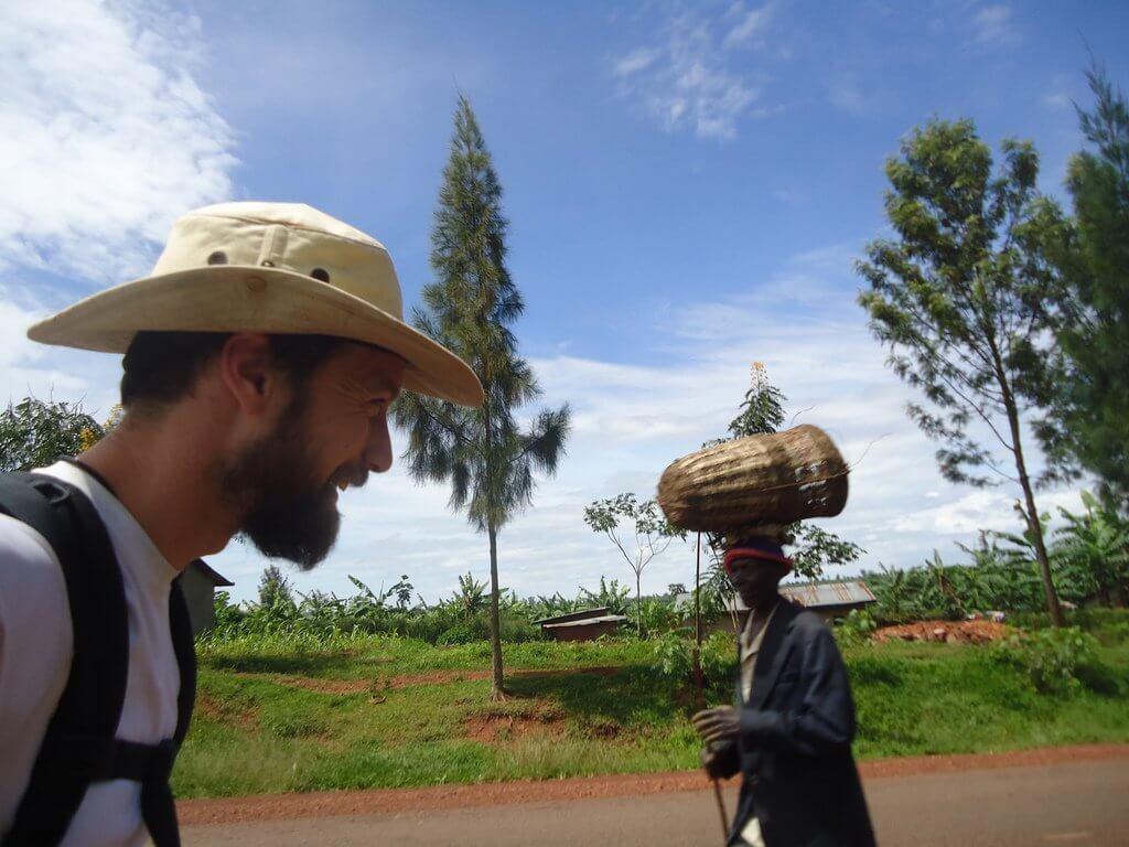 Meeting people on the road in Rwanda.