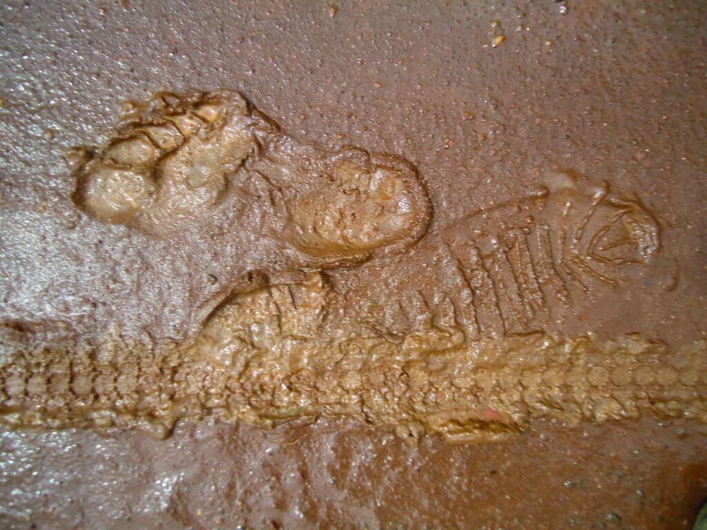 Footprints on the road in Rwanda.