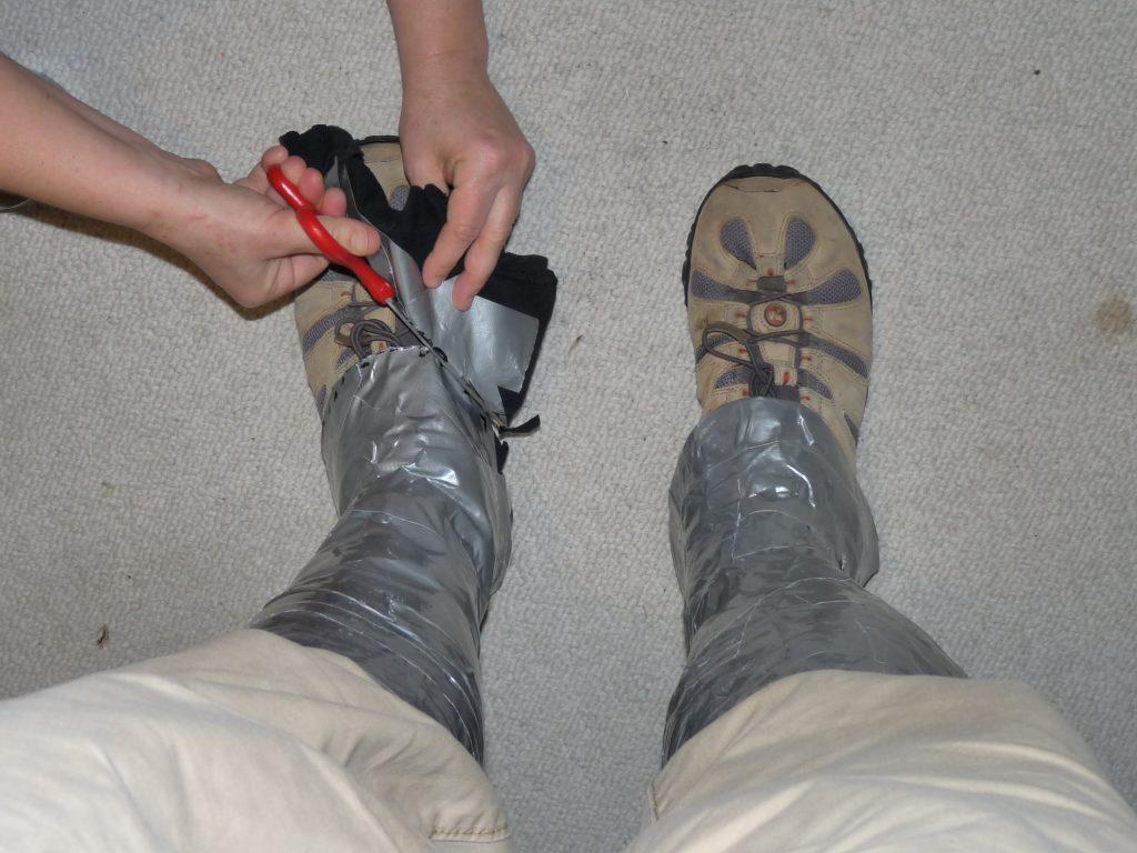 Gaffer tape gaiters