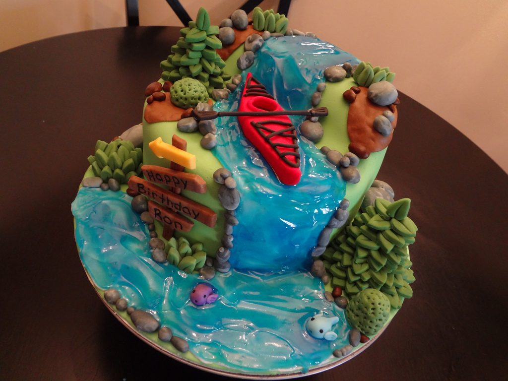 kayaking themed cake