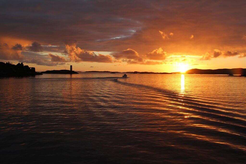 Sunset over the water at Inishbofin