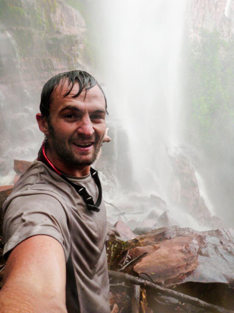 Shane Houbart enjoying a Venezuelan waterfall
