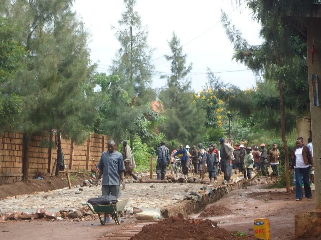 Roadworks near Kibungo.