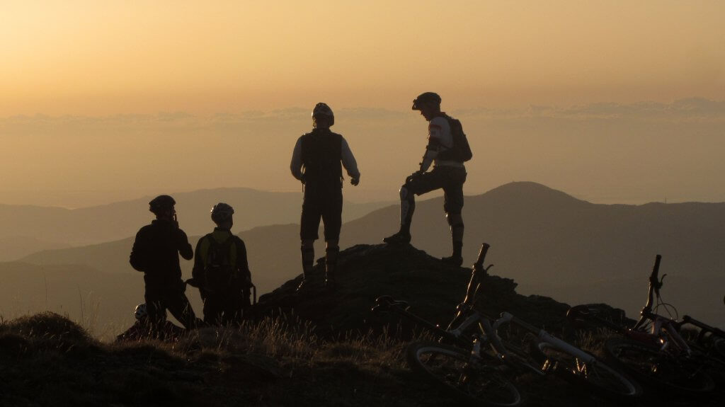 Mountain Bikers in the sunset